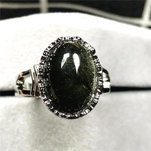 Cluster Rings 15x12mm Natural Green Phantom Quartz Beads Ring For Woman Man Crystal Ghost Garden Stone Silver Adjustable Jewelry