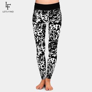 Leggings LetsFind Marca Moda Inverno Mulheres Plus Size Calças 3D Doodle Letter Element Impressão Digital Cintura alta Treino Suave