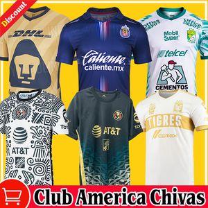 2021 2122 Chivas Guadalajara Home Away Terceiro ESPORTS Futebol Jerseys 115th 20/21 Club America Unam Gold Leon Uanl Tigres Camiseta de Futbol 115 Ano Pré-jogo Camisas