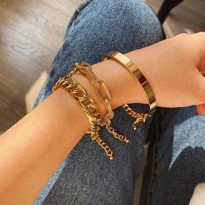 Link, Chain 1Pcs 3Pcs 4Pcs Punk Curb Cuban Bracelets Set For Women Miami Boho Thick Gold Color Charm Bangles Fashion Jewelry