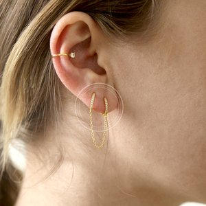 Charming Trendy Gold Silver Chain Tassel Earrings 1 pcs 925 Sterling Silver Round Hoop Earrings for Women Fashion Earrings 2019 915 T2