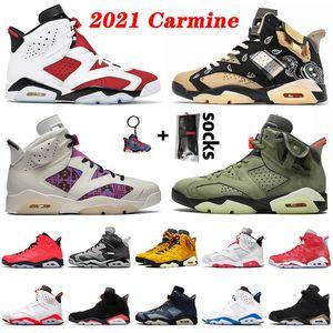 retro 6 6s traivs scott Novos tênis de basquete femininos masculinos Jumpman 6 6s de qualidade 2021 Carmine Cactus Jack DMP Quai 54 cinza fumo preto tênis tênis infravermelho 36-47
