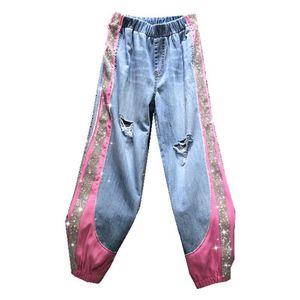 Женские брюки CAPRIS дизайнер женские джинсы блестящие розовые пэчворки эластичная талия свободная гарема бобов нога девушка джинсовые брюки