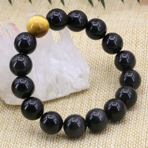 Charms Bracelet 5 Style Natural Stone Black Obsidian Tiger Eyes 12mm Round Beads Strand Bangle Diy Jewelry 7.5inch B3164 Beaded, Strands