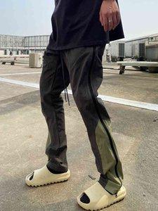 High street vibe straight tube nylon zipper splicing function niche tooling pants men's casual loose fogYLR