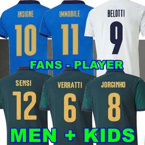 Giocatore Versione 2020 2021 Italia Soccer Jersey Home Sensi Belotti Jorginho El Shaarawy Insignè Verratti Bernardeschi Pellegrrini Kean Men + Kids 20 21 Camicie da calcio