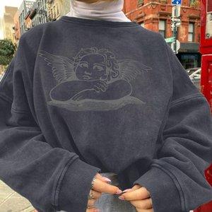 Женские толстовки толстовки кофты Klalien Женщины угол печать повседневные свободные негабаритные длинные рукава 2021 осень зима мода уличная одежда наряд