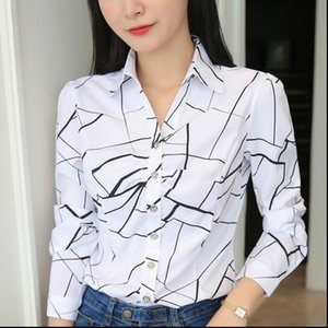 JFUNCY Plus Size Womens Shirts Women Tops and Blouses Stripe Print Elegant Long Sleeve Office Lady Work Wear
