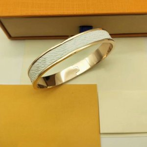 ZB004YX Brand Fashion Classic Link Bangle White PU Leather Titanium Bracelet with Gift Box 3 Colors Silver Rosegold Gold