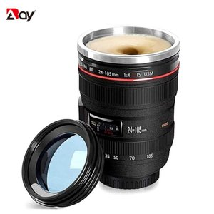 Thermal Mug Cup Beer Steel Coffee Thermos Bottle Cooler Tumblers Camera Lens with Cover Travel Outdoor Vacuum Flasks Drinkware H0831