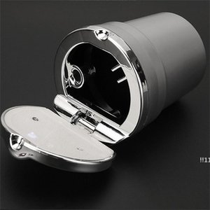 new Aluminium Alloy Car Ashtray With Cover Smokeless LED Multi Function Ash Tray Gold Silver Plating Smoking Accessories Creative New EWF597