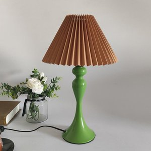 Table Lamps Bedside Japan Style Green With White Brown Pleated Fabric Shade, Elegant Nightstand Decoration For Women