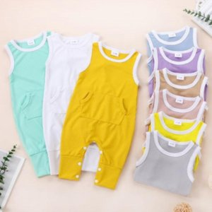 Baby Clothes Cotton Vest Striped Rompers Sleeveless Newborn Girls Jumpsuit Solid Children Playsuit Summer Kids Clothing 9 Colors