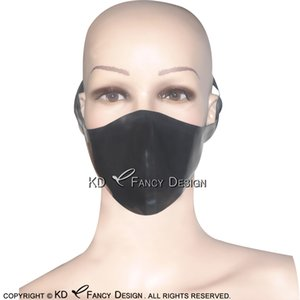 Black Sexy Bondage Latex Mouth Mask Rubber Face Masks Hood Protected With Belts Buttons 0018