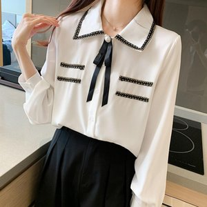 Spring Women Elegance Chiffon Blouse Vintage Lantern Sleeve White Shirt With Bow Office Lady Button Up Tops T00001T Women's Blouses & Shirts
