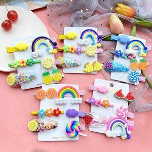 6PCS Set Girls Cute Cartoon Rainbow Cloud Hair Clips Kids Lovely Hairpins Headband Barrettes Fashion Accessories