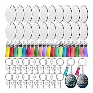 Ganci rotaie Sublimation Keychain Blanks, trasferimento di calore Catene chiave a doppio lato per il fabbricazione di ornamento artigianale fai da te