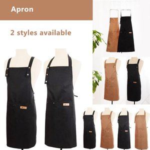 Aprons Denim Canvas Pocket Apron Adjustable Baking Chefs Kitchen Coffee Cooking BBQ Waterproof And Antifouling Cleaning 2