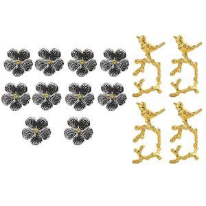 Napkin Rings 4Pcs Bird Ring Model Room El Buckle With 10Pcs Wedding Simple Plum Flower