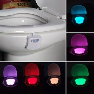 Toilet Night Light LED Smart Lamp Bathroom Human Motion Nightlight Activated PIR 8 Colours Automatic RGB Backlight