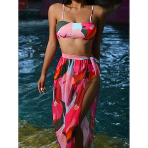 Colorful Female Bandeau Swimsuit High Wiast Bikini Women Swimwear 3-pieces Set Mesh Long Skirt Beachwear Bathing Suit Women's