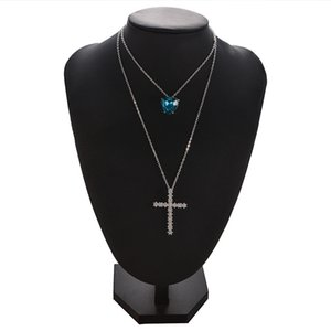 Women Necklace Double Layer Rhinestone Love Cross Pendant Jewelry