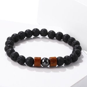 Wooden ball beads manual hand series of men's and women's fashion national wind bracelet lava stone bracelet 324 J2