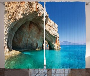 Curtain & Drapes Blue Curtains Room Sea Cave On Zakynthos Island In Greece Vacation Relaxing Seascape Coastline Picture Living Home Decor
