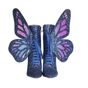 2021 Ladies Ankle Boots booties Sequined Cloth Real leather Magic Woman 3D Butterfly wings side zip Lace up zipper Fashion Casual Shoes colourful Bling blue 35-43