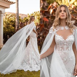 Sexy Mermaid Wedding Dresses with Long Cape Wrap 2021 Lace Applique outdoor Beach Country Bride Dress wear vestido de fiesta de boda