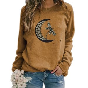Autumn Woman Sweashirts Dragonfly-Moon Printing Tops Long Sleeve Round Neck Casual Loose 2021 Fall Pullovers Women's Hoodies & Sweatshirts