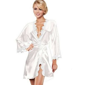 Hot Women sexy Nightwear Satin Lace Lingerie Sleepwear Robes Intimate night Gown Robes Kimono Exotic Apparel Babydolls Chemises