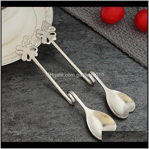 Heart Shaped Spoons Suspensible Seasoning Ladle Scoop Twisting Hanging Cup Coffee Dessert Teaspoon Stainless Steel Kav1R C3Lko