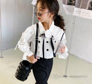 Lady style girls stereo flower Bows tie shirt kids lapel falbala sleeve high waist blouse autumn children princess tops clothing Q1115