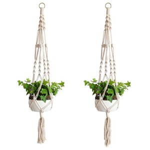 Plant Hangers Macrame Rope Pots Holder Ropes Wall Hanging Planter Hanger Basket Plants Holders Indoor Flowerpot Baskets Lifting GWF6298