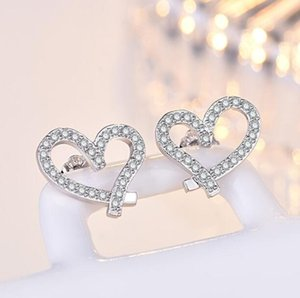 Fashion Designer Stud Earrings Cute Lovely Heart Style Silver Rose Gold with Crystal Stone Earring Jewelry Gift