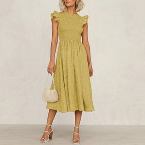 A Women Summer Swing Bohemian Small High Flowers Taille Midi Jurk Ruche Losse Casual Mode Ladies Plus Size Dress New 20's