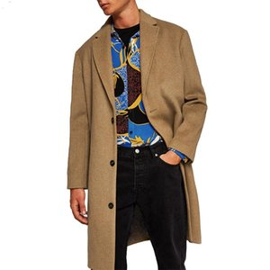 Overcoat For Men Solid Color Hooded Winter Thick Warm Outerwear Male Trench Coat Mens Jackets And Coats#W Men's Wool & Blends