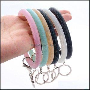Jewelrysile Bracelets Keychains Fashion Rubber Bangle Key Ring Charm Wrist Sports Round Keyring Statement Jewelry Ror Women Aessories Drop D