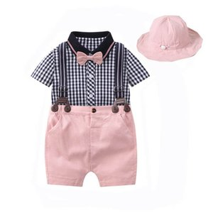 Clothing Sets Boy Suit Baby Clothes Kids Newborn Outfits Summer Cotton Short Sleeve Rompers Suspender Shorts Hats 3Pcs Infant B4502