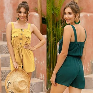 2021 New Hot Fashion Women Cotton Linen Solid Color Jumpsuits For Summer Vintage Female Beach Playsuit Casual Holiday Clothing