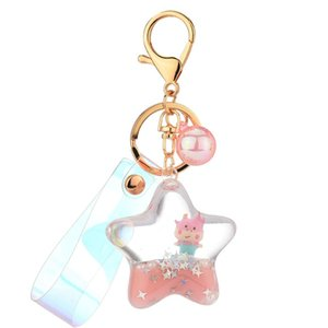 Creative Moving Liquid Quicksand Key Rings Five-pointed Star Cow Toy Floating Keyring for Women Charm Bag Pendant Kids Gift