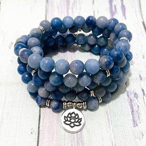 Link, Chain SN1395 Design 8 Mm Blue Aventurine 108 Mala Bracelet Women`s Lotus Yoga Necklace Natural Meditation Japa Mantra Beads