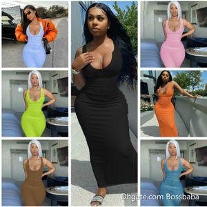 Diseñadores Maxi Vestidos largos para mujeres U-Cuello de punto Sin mangas Largo Bodycon Vestido Sexy Negro Blanco Dress Club Wear Falda