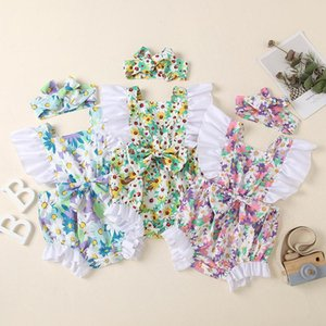 Baby Girl Romper Jumpsuit With Bow Headband 2 pcs Toddler Onesie Sunflower Print Infant Outfit Kid Clothes Summer Clothing