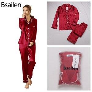 Frauen Bsaailen Pyjamas 2 Stück Herbst Faux Silk Satin Set Langarm Sleepwear Pyjamas Anzug Weibliche Homewear C1