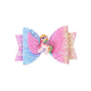 7 cores menina acessórios de cabelo princesa lantejoulas bow barrettes requintado unicórnio clipper