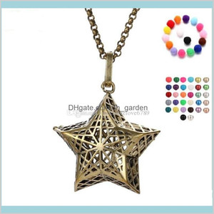 Pentagram Pearl Accessories Essential Oil Diffuser Necklaces Hollow Out Cage Pendant Dw6K9 Lockets 1Wj0B
