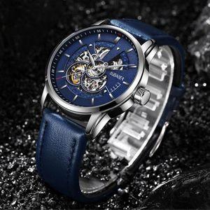 Hombres Reloj Mecánico Automático de Alta Calidad Textura de Cuero Dial Hollow Relojes Lujo Suiza El Hombre Correa Reloj de pulsera a prueba de agua