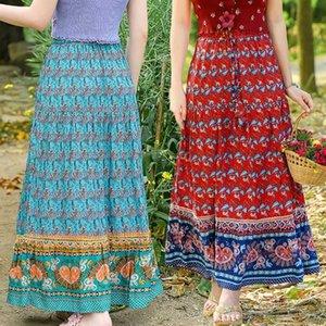 Bohemia Pink Floral print Cotton Maxi Long Skirt BOHO Hippie Women Elastic High Waist Spliced Ruched pleated Skirts 210531